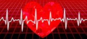 赤いハートと心電図