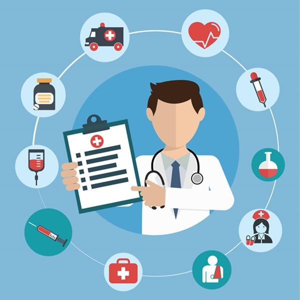 医師の診断を図解したイラスト