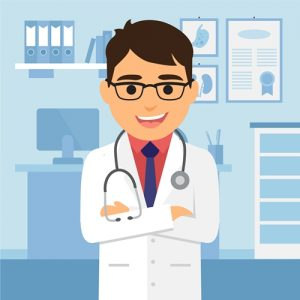 男性医師のキャラクターイラスト